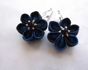 Midnight Blue Kanzashi Flower Snap Clips