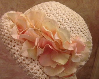 Ivory Toyo Hat - Straw Hat - Derby Hat - Easter Hat - Women and Girls
