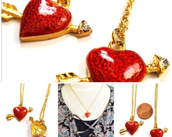 Vintage 90s red enameled gold heart-arrow with rhinestino necklace