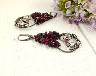 Wire wrapped silver earring , ruby statement earring, dangle earring, luxury gemstone earring