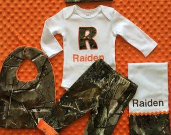 Personalized Camo Baby Boy hunting Infant Newborn Homecoming Real Tree Mossy Oak Woodland Bodysuit Pants Hat Bib Burp cloth gift set
