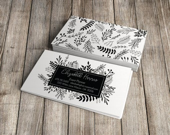 Premade Black and White Floral Business Card Design Unique Business Card Branding Business Advertising Marketing Materials