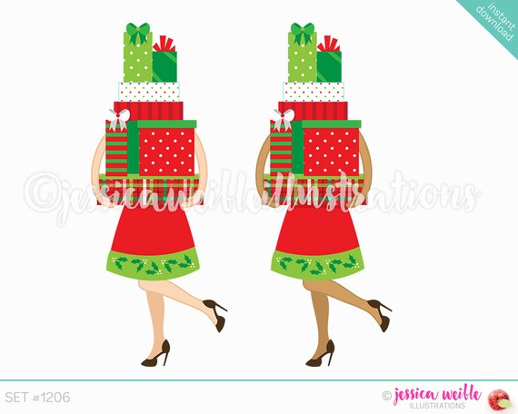 Instant Download Christmas Shopper Cute Digital Clipart Woman
