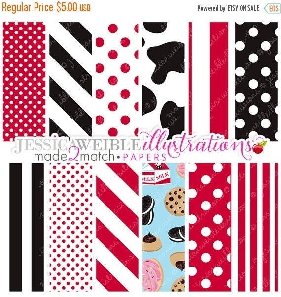 ON SALE Milk & Cookies Cute Digital Papers - Commercial Use OK - Cow Print Background, Red and Black Patterns