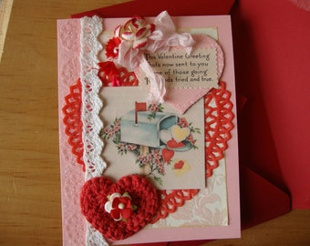 valentine's day card for friend greeting card paper art vintage valentine card scrap shabby chic