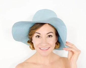 70s Wide Brim Hat | Baby Blue Straw Floppy Hat Sunhat