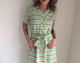vintage 1970s scooter dress striped dress mod plus figure plus size green ivory spring JAN