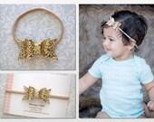 Glitter Bow Headband, Glitter Baby Bow Headband, Gold Glitter Bow, Gold Baby Bow, Glitter Bows, Baby Headband, Newborn Headband Toddler Bows