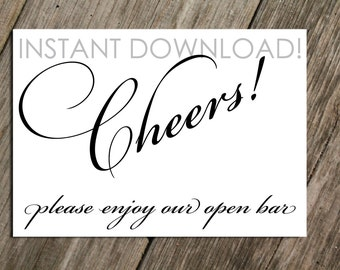 Open Bar Sign For Wedding Party Or Events