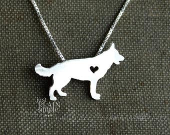 German Shepherd necklace, tiny sterling silver hand cut dog pendant with heart