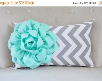 SALE Throw Pillow - Mint - Cover Mint Green Pillow Decorative Pillow Cover Mint Sofa Pillow Grey Chevron Pillow Mint Decor Mint and Gray Nur