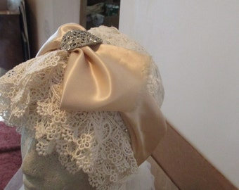 1920'S flapper headpiece  vintage ivory lace and authentic 1920's rhinestone jeweled piece
