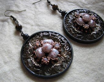 Filigree earrings | hoop | stone | bezel | vintage | dangle statement | for her | confetti lucite | medallion