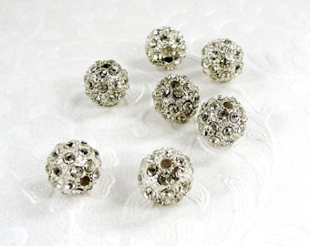 Rhinestone Ball Bead 10mm with 2mm Hole Lot of 7 Salvaged Bracelet Spacer Bead Silver Tone Recycled