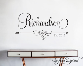 Wall Decals Quote - Personalized Family Name Wall Decal Name Monogram - Vinyl Wall Decal Family Wall Decor Wall Stickers Wedding Gift