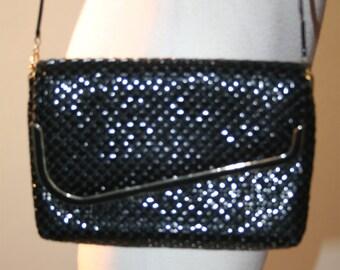 Vintage Black 70s Mesh Metal Handbag