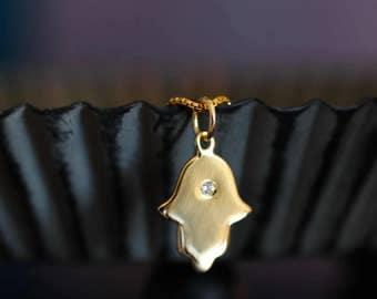 Hamsa Necklace Minimal Necklace Gold Hamsa Necklace Hamsa Charm Hamsa Pendant Hamsa Jewelry Spiritual Jewelry CZ Necklace Hand of GOD
