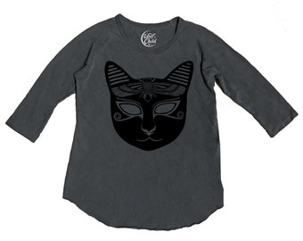Egyptian Mau Baseball Tee - Made in the USA, cat, Egypt, illustrated tees, hand printed