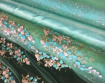 "56""-58"" Wide Aqua Blue Fabric Lining Satin Stretch Mesh Charmeuse Embroidered Beaded Rhinestone 3D Gold Floral Sequined Tulle Mint Green"