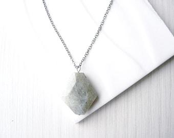 Labradorite Pendant Necklace, Natural Stone Jewelry, Grey, Long, Short, Faceted, Geometric, Semi Precious, Semiprecious