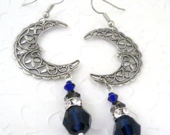 Celestial Moon Earrings - Moon Jewelry - Bohemian Jewelry - Crescent Moon Earrings - Boho Jewelry - Dangle Earrings - Gypsy