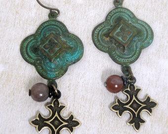 Quatrefoil Jewelry - Quatrefoil Earrings - Verdigris Earrings - Celtic Cross - Verdigris Patina Earrings - Celtic Jewelry - Patina Earrings