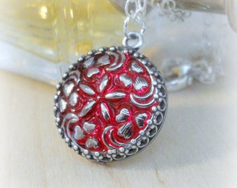 Art Deco Jewelry - Red and Sterling Silver Glass Button Victorian Necklace - Elegant Jewelry - Victorian Jewelry