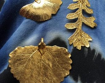 Lot of 3 Stunning Vintage Electroplated Gold tone Poplar Gingko Oak Leaf Leaves Pendant Beads
