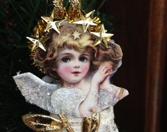 Victorian Angel Christmas Ornament - Lace Skirt - Gold Trim