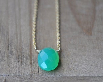 Green Chrysoprase Necklace in Gold - Green Single Stone Layering Necklace