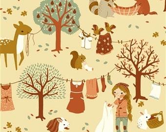 Acorn Trail Laundry Day Canvas from Birch Organic fabrics - Full or Half Yard Soft Lightweight Canvas