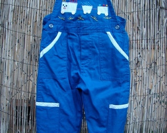 ON SALE Vintage 70s /  Blue / Chu Chu Train / Overalls / SMALL