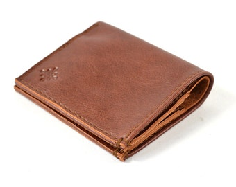 Handmade Brown Leather Bi Fold Wallet For Cards & Notes