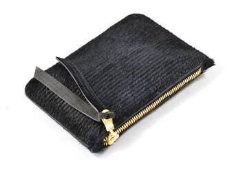 Black Hair On Hide Leather Zip Pouch Purse Wallet Handmade