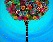 Whimsical Tree of Life Original Painting Art Flower PRISARTS