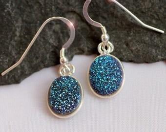 Teal Indigo Sparkle - Beautiful Agate Titanium Druzy (Drusy) Geode Sterling Silver Earrings
