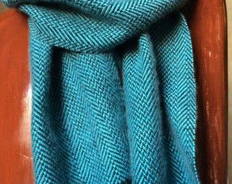 Cashmere Silk Hand Woven Scarf, Herringbone Luxury Scarf Blues