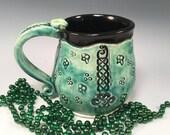 Pottery mug/Celtic mug/Irish beer stein/Irish pottery/Celtic knots/shamrocks/coffee mug/mug/
