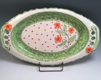 Pottery tray/serving tray/flowered tray/handmade tray/wedding gift/whimsical pottery