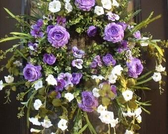 Spring Door Wreath, Spring Wreath, Floral Door Wreath, Etsy Wreaths, White and Purple Wreath, Ranunculus Wreath