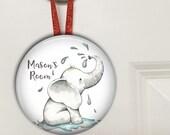 Elephant nursery decor - personalized baby boy gifts - Bedroom door knob hanger for kids HAN-PERS-10