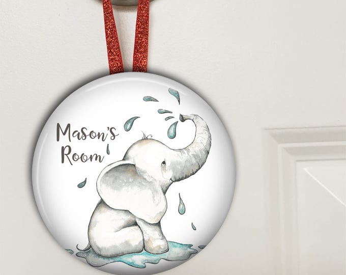 Elephant nursery decor - personalized baby boy gifts - Bedroom door knob hanger for kids HAN-PERS-10