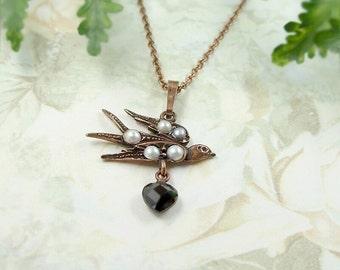 Vintage garnet lovebird necklace swallow&heart in Victorian style || ГРАНАТ
