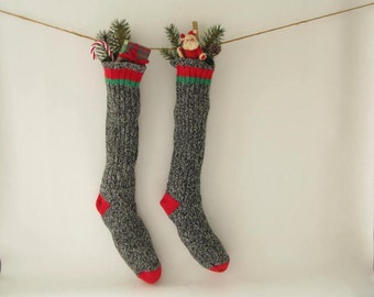 Vintage Wool Christmas Stocking, Men's wool sock, holiday decor