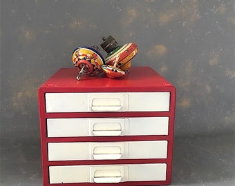 Vintage Metal Parts Drawer, red, white, small parts drawers