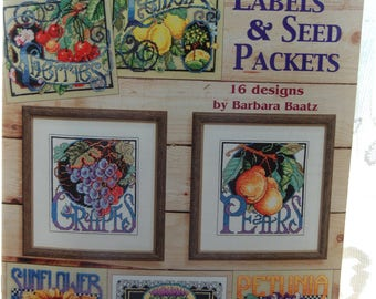 CRATE LABELS & SEED Packets Cross Stitch Book with 16 Designs