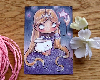 PRINT ACEO - Pink Stars and Sleeping Bunny