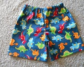 Little Boys dionsaur shorts blue red orange green infant through 3 years