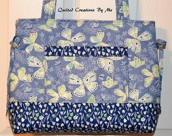 Butterfly Perriwinkle Blue Quilted Bag Quilted Purse Quilted Bow Bag Handbag Tote Bag by Quilted Creations By Me