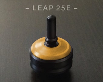 "LEAP 25E Yellow – Precision spin top with ceramic tip and rubber grip for improved control – 1"" desk and pocket top"